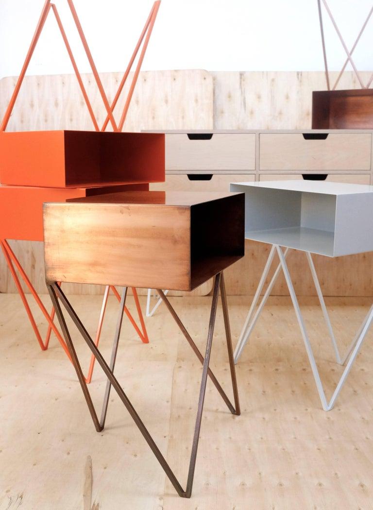 Welded Pair of Oxidised Copper Robot Side Tables, Bedside Tables For Sale