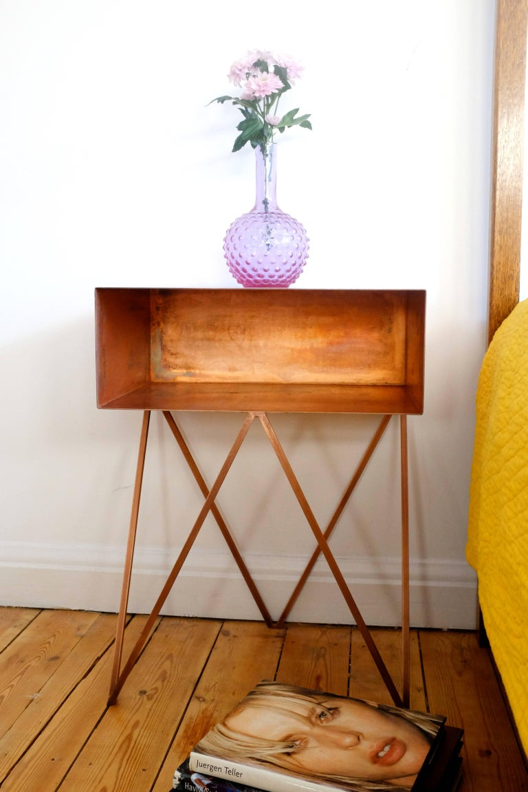 Pair of Oxidised Copper Robot Side Tables, Bedside Tables In New Condition For Sale In Leicester, GB