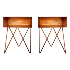 Pair of Oxidised Copper Robot Side Tables, Bedside Tables