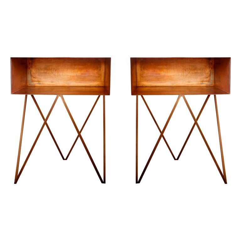 Pair of Oxidised Copper Robot Side Tables, Bedside Tables For Sale