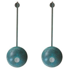 Pair of Oyster Brass Turquoise Sconces by Carla Baz