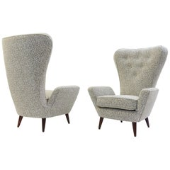 Pair of P. Buffa Armchairs, New Upholstery from the Decortex Firenze Collection