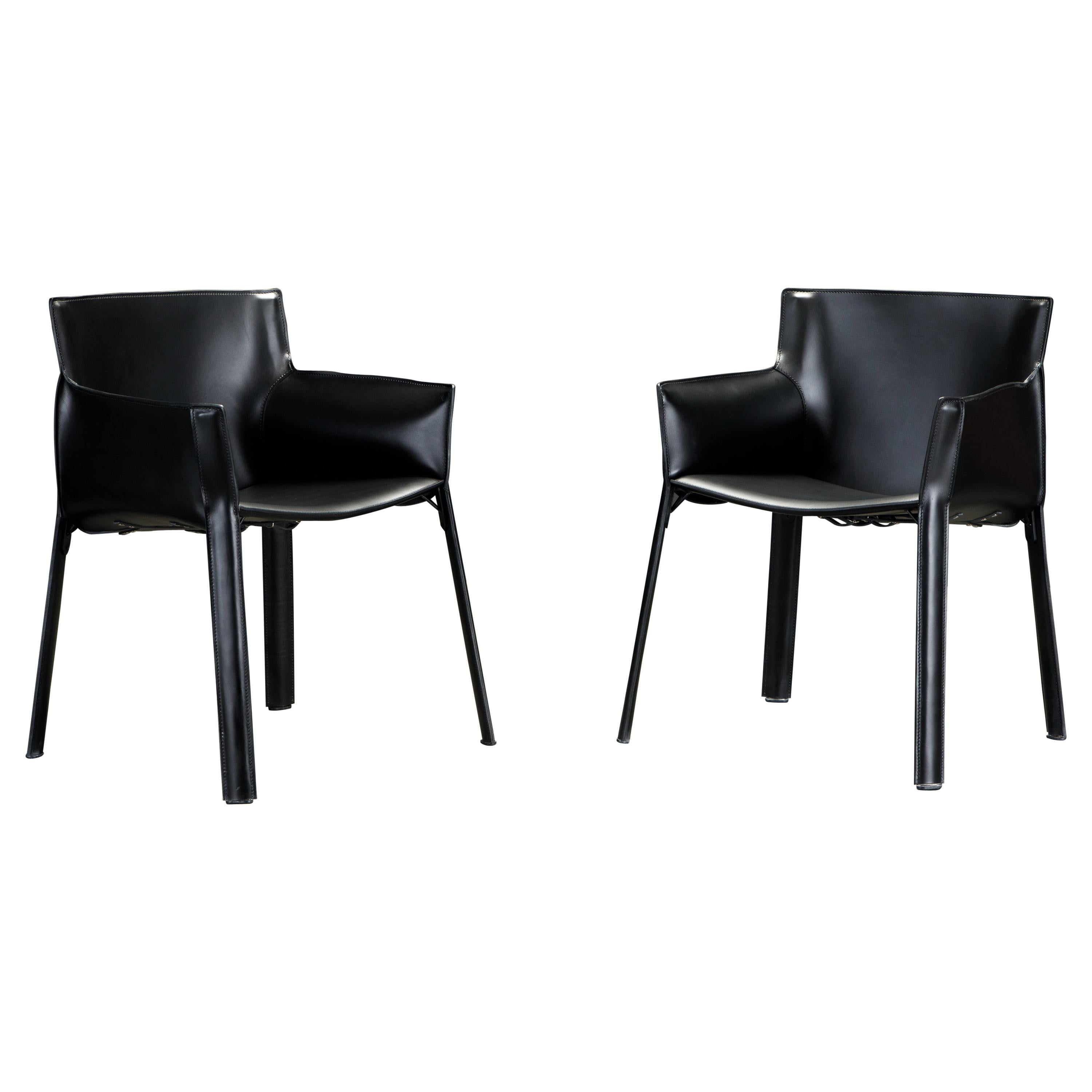 Pair of 'P90' Leather Armchairs by Giancarlo Vegni for Fasem, New