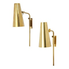 Pair of Paavo Tynell Brass Wall Lights for Taito Oy, Finland, 1950s