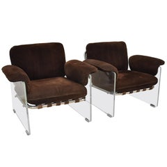 Pair of Pace Argenta Italian Suede, Lucite and Chrome Chairs