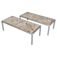 Pair of Pace Collection Chrome and Marble Coffee Tables