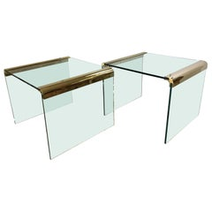 Pair of Pace Furniture Leon Rosen Brass and Glass Waterfall End Side Tables