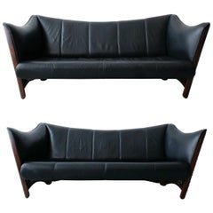 Pair of Pacific Green Palmwood and Leather Cayenne Sofas