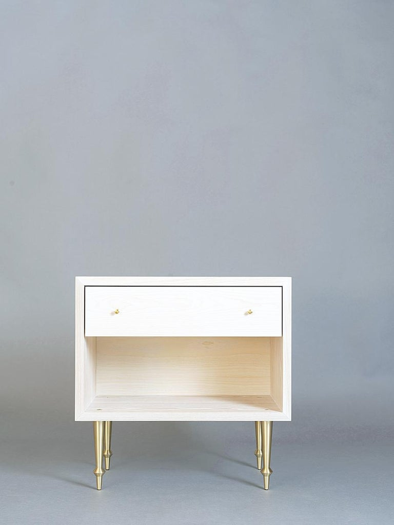 """As shown: Solid ash with brass legs and drawer pulls. Bleached finish. Dimensions: 24"""" W x 16 1/2"""" D x 24"""" H. Custom sizing available. Offered in a variety of hardwoods and finishes."""
