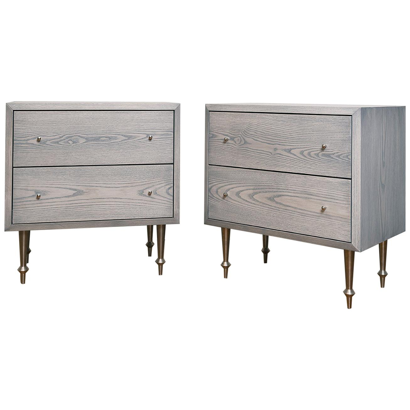 Pair of Pacific Side Tables with Greywash Finish by Volk