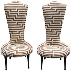 Pair of Padded Bedroom Chairs Newly Upholstered with Striped Fabric, 1950s