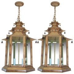 Pair of Pagoda-Shaped, Hand Painted Tole Fixtures
