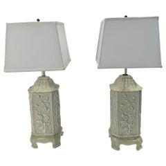 Pair of Pagoda Shaped Italian Ceramic Table Lamps with Bamboo and Flowers