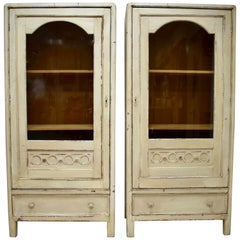 Pair of Pained Pine Vitrines
