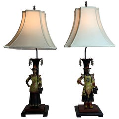 Pair of Paint Decorated Figural Tole Lamps on Wood Bases