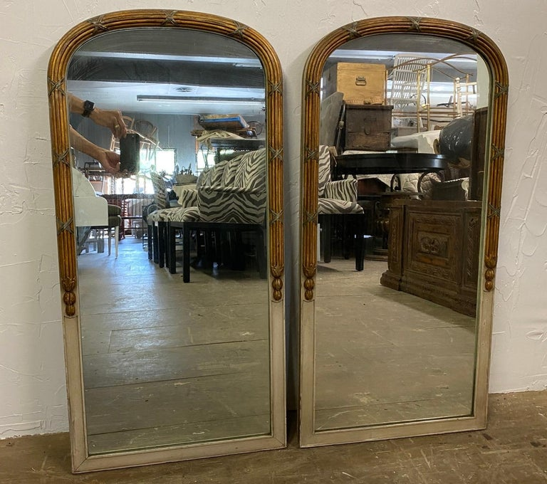 Painted Pair of Paint Decorated Louis XVI Style Vanity Mirrors For Sale