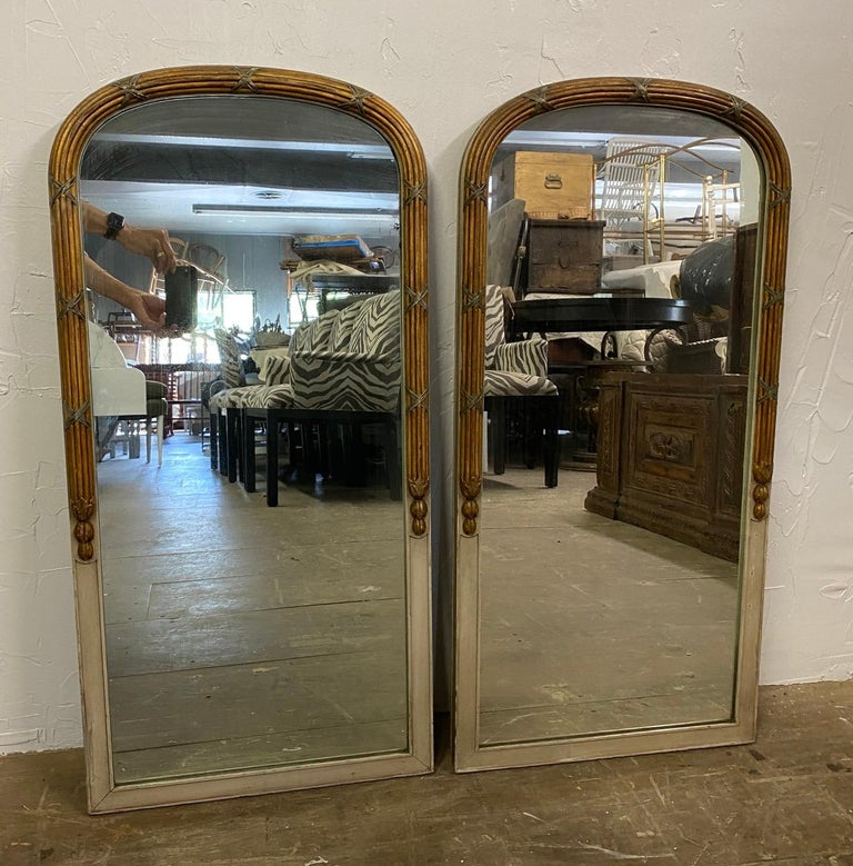 Pair of Paint Decorated Louis XVI Style Vanity Mirrors In Good Condition For Sale In Great Barrington, MA