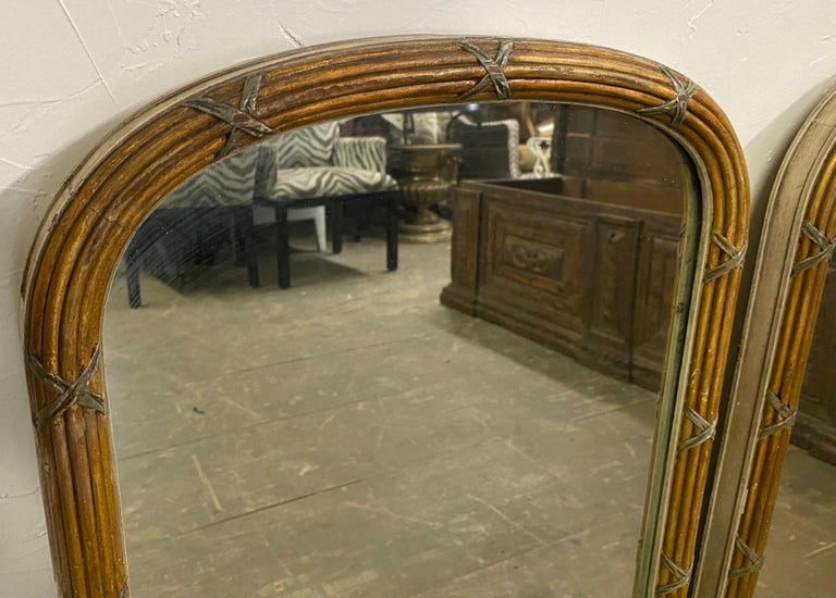 Pair of Paint Decorated Louis XVI Style Vanity Mirrors For Sale 2