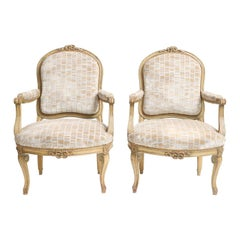 Pair of Painted 19th Century Fauteuils