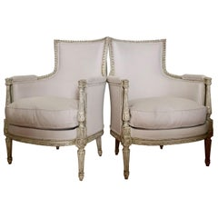 Pair of Painted 19th Century French Directoire Style Bergères