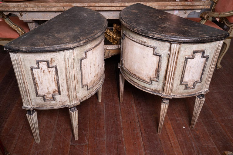 Italian Pair of Painted 19th Century Petit Demilune Cabinets For Sale