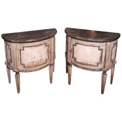 Pair of Painted 19th Century Petit Demilune Cabinets