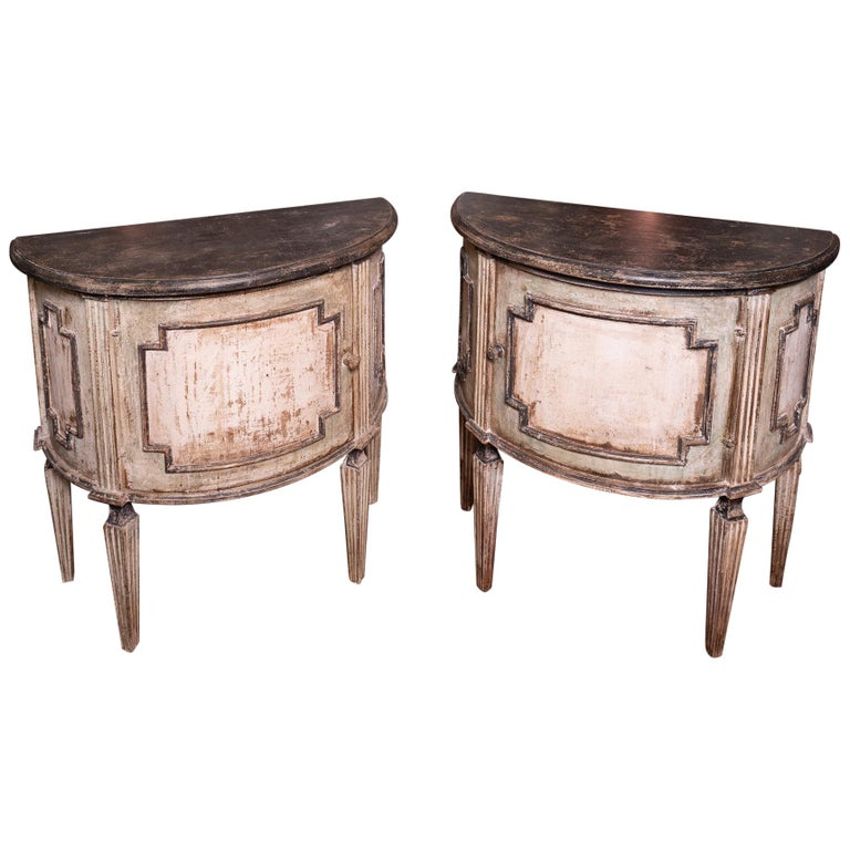Pair of Painted 19th Century Petit Demilune Cabinets For Sale