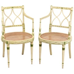 Pair of Painted and Decorated Armchairs with Caned Seats