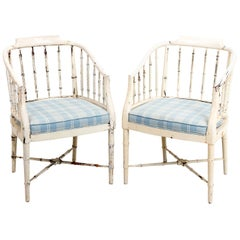 Pair of Painted and Decorated Faux Bamboo Armchairs