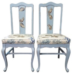 Pair of Painted and Decoupage Antique Chairs in Light Blue