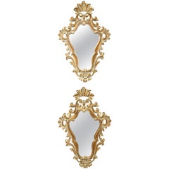 Pair of Painted and Gilded Italian Mirrors