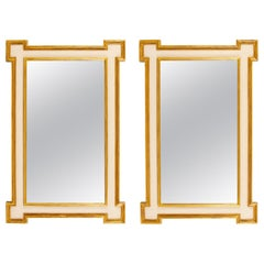 Pair of Painted and Giltwood Mirrors