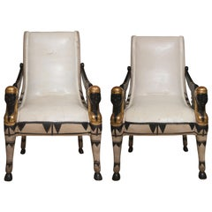 Pair of Painted and Parcel Egyptian Revival Armchairs