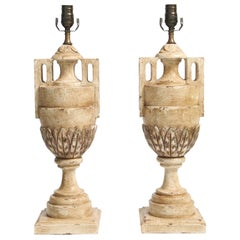 Pair of Painted and Parcel Silver Gilt Urn Form Lamps