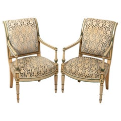 Pair of Painted and Upholstered French Directoire Armchairs