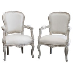 Pair of Painted and Upholstered Louis XV Style Open Armchairs