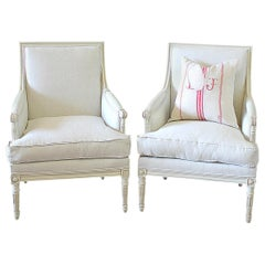 Pair of Painted and Upholstered Louis XVI Style Bergere Chairs in Natural Linen