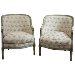Pair of Painted and Upholstsered French Tub Chairs in the Style of Louis XVI