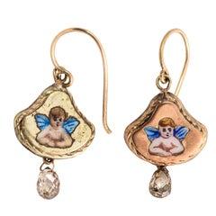 Pair of Painted Angel Earrings