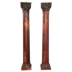 Pair of Painted Antique Columns with Corinthian Capitals