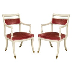 Pair of Painted Armchairs in the Regency Manner on Brass Castors
