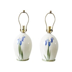 Pair of Painted Asian Vase Lamps