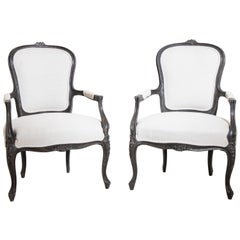 Pair of Painted Baroque Style Armchairs, Louis Quinze Style, circa 1900