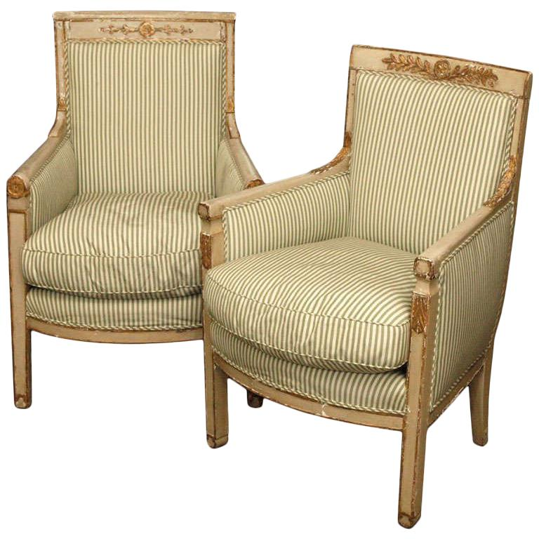 """Pair"" of Painted Bergère For Sale"