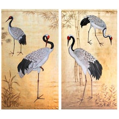 Pair of Painted Canvas Figuring Cranes Birds, Contemporary Work