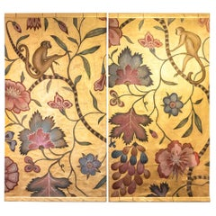 Pair of Painted Canvas, Monkeys, Flowers and Branches, Contemporary Work