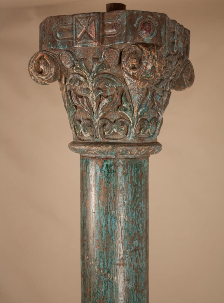 Anglo-Indian Pair of Painted, Carved Teak Wood Columns from Gujarat, India For Sale