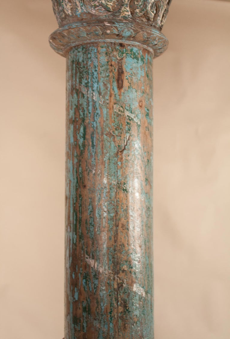20th Century Pair of Painted, Carved Teak Wood Columns from Gujarat, India For Sale