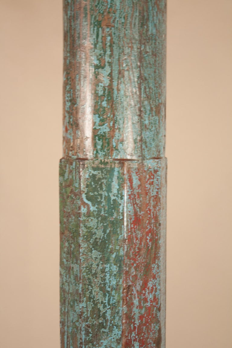 Pair of Painted, Carved Teak Wood Columns from Gujarat, India For Sale 1