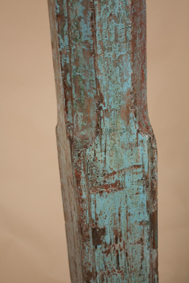 Pair of Painted, Carved Teak Wood Columns from Gujarat, India For Sale 3